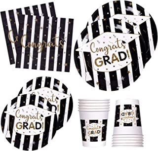120 PCS Graduation Party Supplies Disposable Dinnerware Set Dinner Paper Plates Napkins Cups Black Gold Decoration, Serves 24