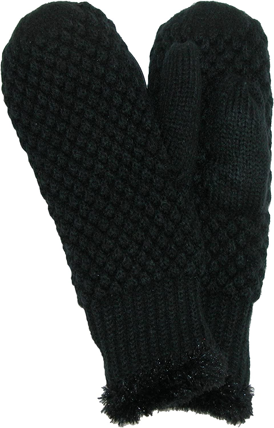 David & Young Women's Popcorn Knit Mittens, Black