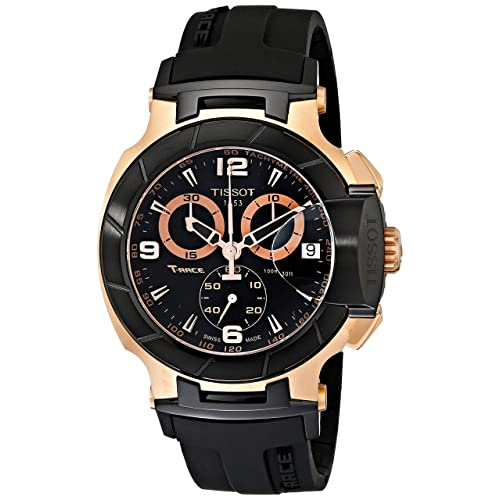 Tissot Mens T0484172705706 Rose Gold-Tone Watch with Black Band
