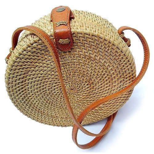 Bali Rattan - Handwoven Round Rattan Bag (Plain Weave Leather Closure)