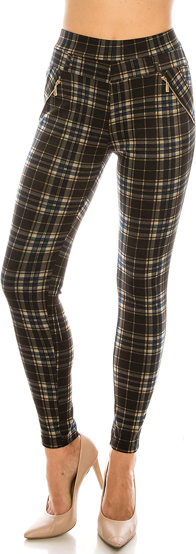 LA12ST Plaid Fleece Lined Print Zipper Pants Elastic Waist Soft Printed Fashion Leggings Trouser Stretch Skinny Pants