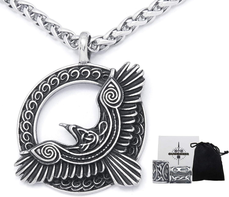 GUNGNEER Viking 5 popular Raven Celtic 2021 Knot Steel C Pendant Keel Stainless