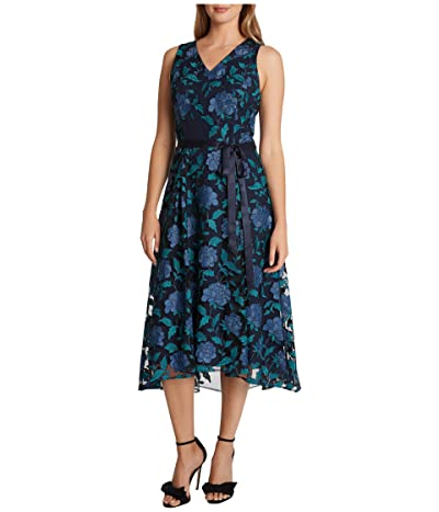 Tahari by ASL Embroidered High-Low Hem Midi Dress (Navy Teal Peony) Women
