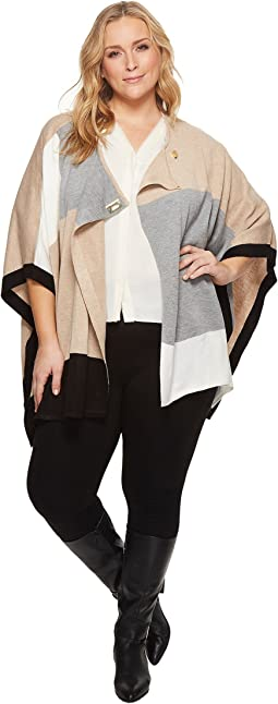 Calvin Klein Plus - Plus Size Color Block Poncho Sweater