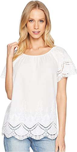 Crochet Embroidered Cotton Top KS6U4203