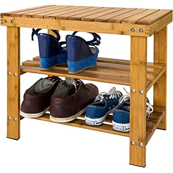 SONGMICS Schuhregal, Schuhschrank mit Sitzbank, Bambus