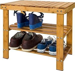 SoBuy® FSR02-K-N Etagère à chaussures, Banquette en bambou haute de gamme, Rangement chaussure/salle de bain, Petit modèle L50xP29xH45cm (vernis naturel)