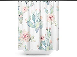 ABin Cute Cactus Background Shower Curtains,Water-Repellent /& Anti-Bacterial Waterproof Mildew-Resistant Fabric with 12 Curtain Hooks 72-Inch by 72-Inch