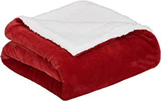 AmazonBasics Soft Micromink Sherpa Throw Blanket - Full or Queen, Red