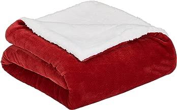 AmazonBasics Micromink Sherpa Blanket - Full/Queen, Red