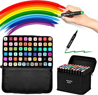 Alcohol Markers with Dual Tips Permanent,60 Color Markers +1 Colorless Sketch Markers for Painting,Coloring,Sketching and ...