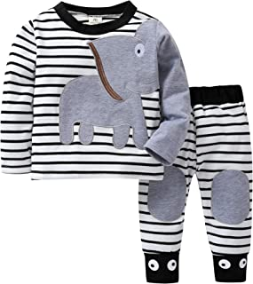 0-18 Months Newborn Infant Baby Boys and Girls Pajamas Long Sleeve Cute Animal Elephant Print Tops+Pants 2PCS Clothes Sets