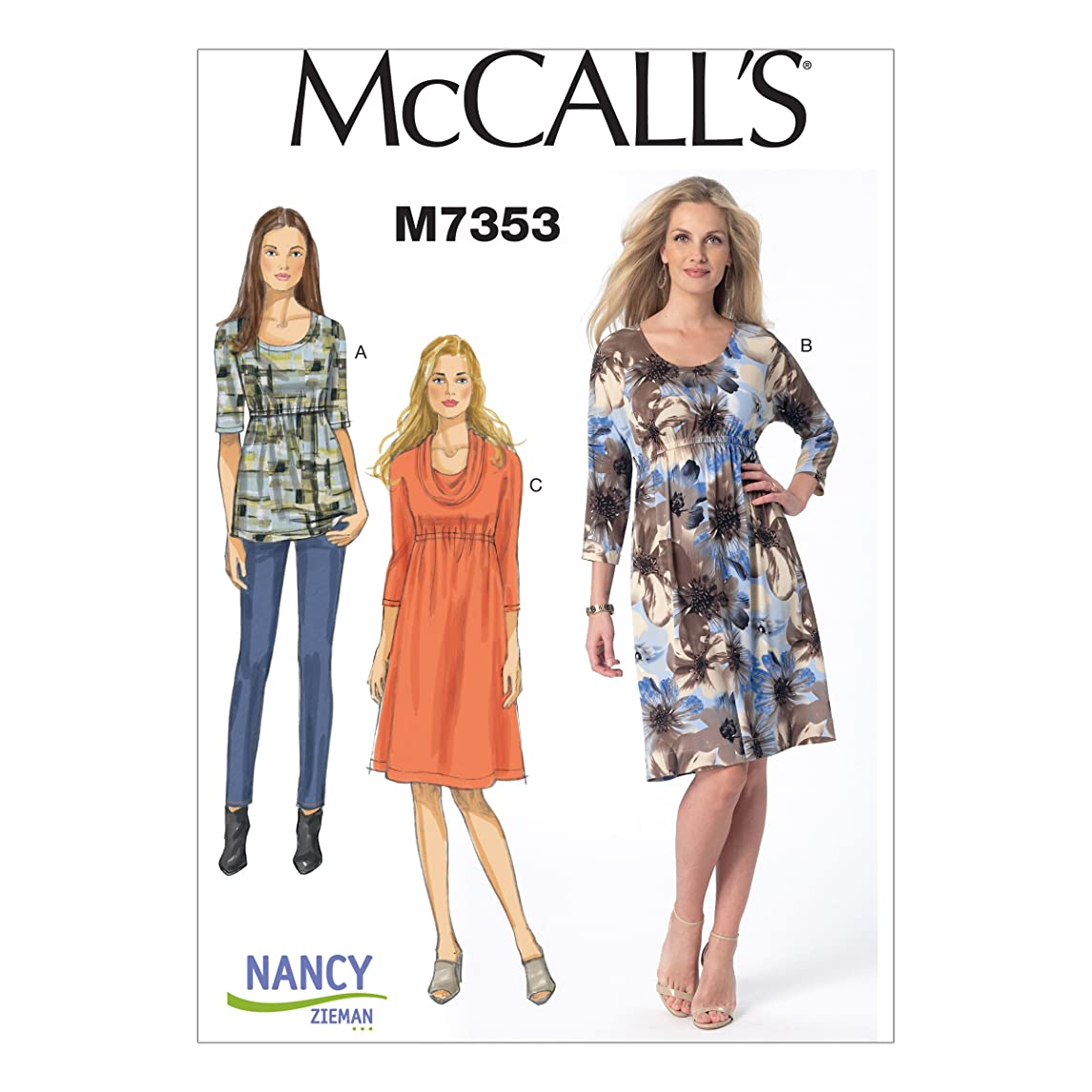 McCall's Patterns M7353 Misses' Raised Elastic-Waist Top and Dresses, Size E5 (14-16-18-20-22)