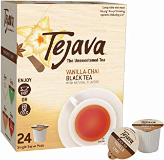 Tejava Unsweetened Black Tea Pods with Natural Vanilla Chai Flavor, Award-Winning Tea, 100% Recyclable Single Serve Cups   Keurig K-Cup Compatible (24 Count)