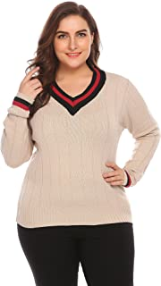 IN'VOLAND Involand Plus Size Women's Cable Knit Sweater Casual V Neck Long Loose Pullover Top(16W - 22W)