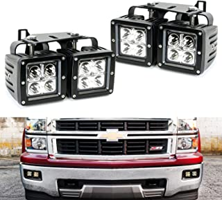 iJDMTOY Dual LED Pod Light Fog Lamp Kit For 2014-15 Chevy Silverado 1500, Includes (4) 20W High Power CREE LED Cubes, Foglight Location Mounting Brackets & Wiring/Adapter Harnesses