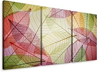Niwo ART - Colorful Leaves, Triptych Canvas Wall Art Home Decor,Stretched Ready to Hang