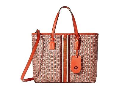 Tory Burch Gemini Link Canvas Small Tote (Canyon Orange Gemini Link) Handbags