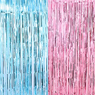 Shiny Fringe Curtains 3.2 ft x 6.6 ft Gender Reveal Party Decor Baby Shower Photo Backdrop (Pink/Blue)