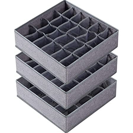 3 Pack Sock Underwear Organizer Dividers, 64 Cell Drawer Organizers Fabric Foldable Cabinet Closet Organizers and Storage Boxes for Storing Socks, Underwear, Ties (16+24+24 Cell, Gray)