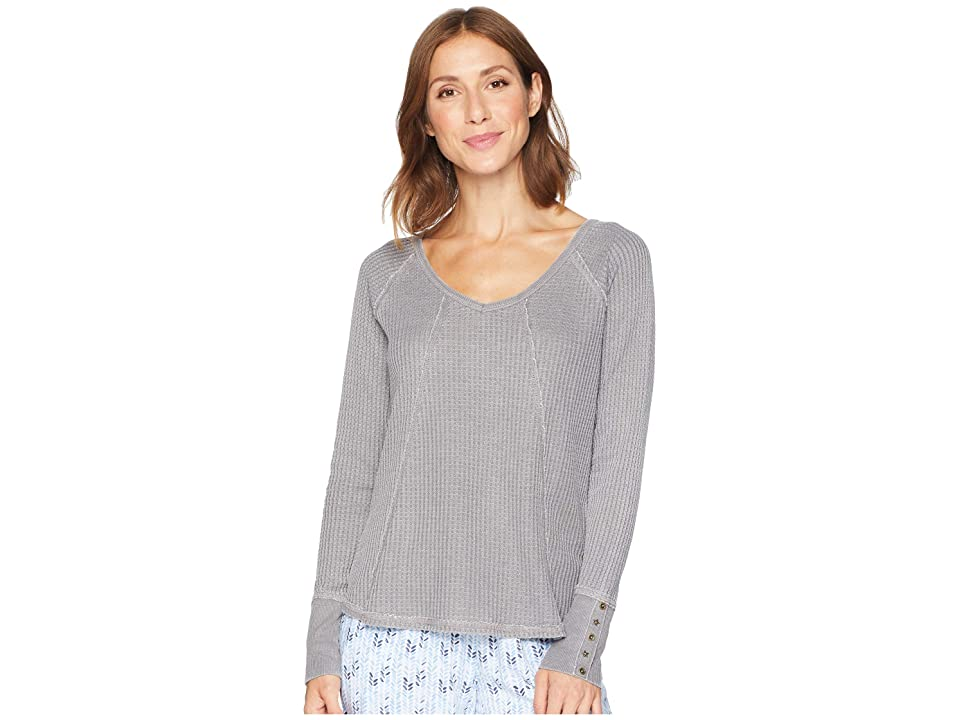 P.J. Salvage Washed Waffle Long Sleeve Top (Grey) Women
