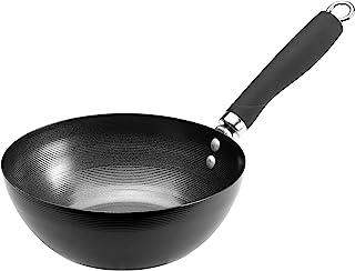 Ecolution Wok anti-adhésif en acier carbone avec poignée rivetée douce au toucher, 20,3 cm, noir