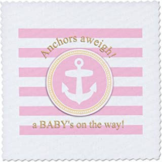 3dRose qs_179693_2 Anchors Aweigh a Baby's on The Way for Pink Nautical Girl Baby Shower Quilt Square, 6 by 6-Inch