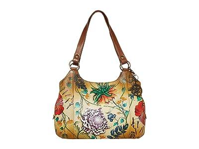 Anuschka Handbags Large Triple Compartment Hobo 652 (Caribbean Garden) Hobo Handbags