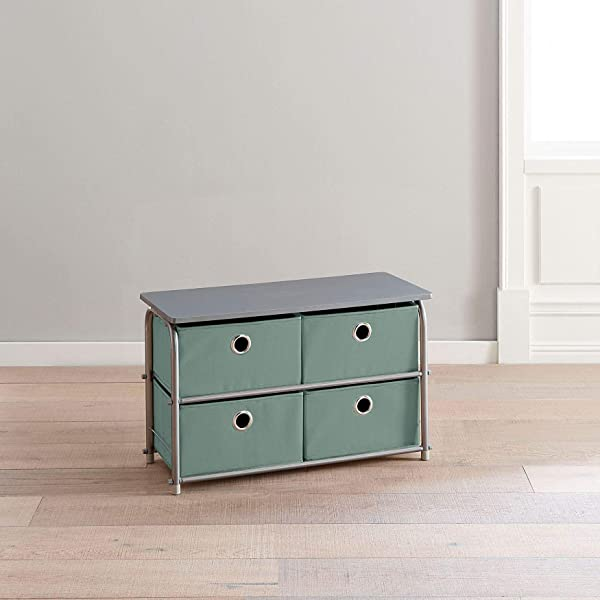 BrylaneHome Eve 4 Drawer Soft Storage Cart Sea Green