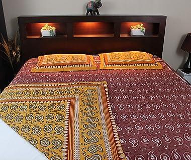 Homestead Dabu Block Print Paisley Handmade Reversible 100% Cotton Duvet Cover Full Queen