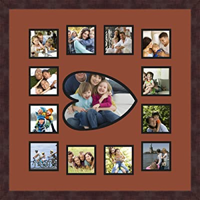 Art to Frames Double-Multimat-384-89//89-FRBW26061 Collage Frame Photo Mat Double Mat with 12-4x5 and 1-9.5x13 Openings and Espresso Frame