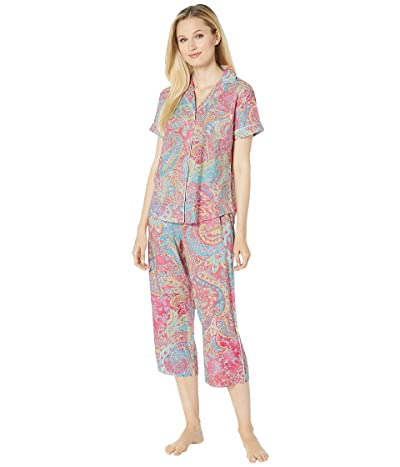 LAUREN Ralph Lauren Short Sleeve Pointed Notch Collar Capri Pants Pajama Set (Pink Paisley Print) Women