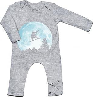 Shirt Happenz Snowboard vor dem Mond Babybody | Wintersport | Snowboarden | Schnee | Langarm | Langärmliger Strampler