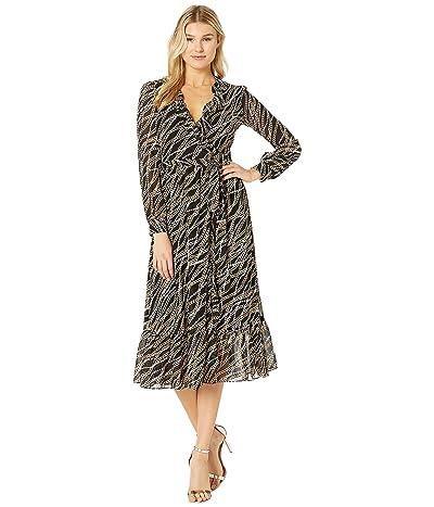 MICHAEL Michael Kors Wrap Dress (Black/Gold) Women