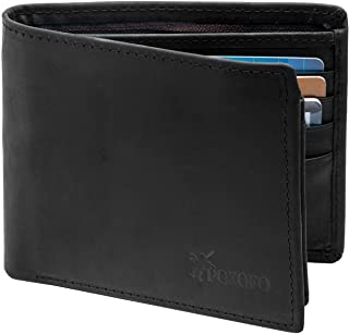 RFID Blocking Genuine Leather Bifold Wallet for Men with Zipper and 2 ID Windows