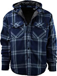 Mens Button Down Flannel Jackets with Detachable Hoodie (Many Patterns and Styles to Choose from)