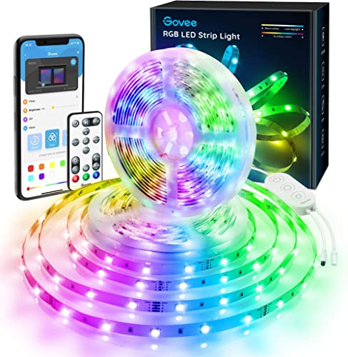 Govee 32.8ft Color Changing LED Strip Lights, Bluetooth LED Lights with App Control, Remote, Control Box, 64 Scenes a...