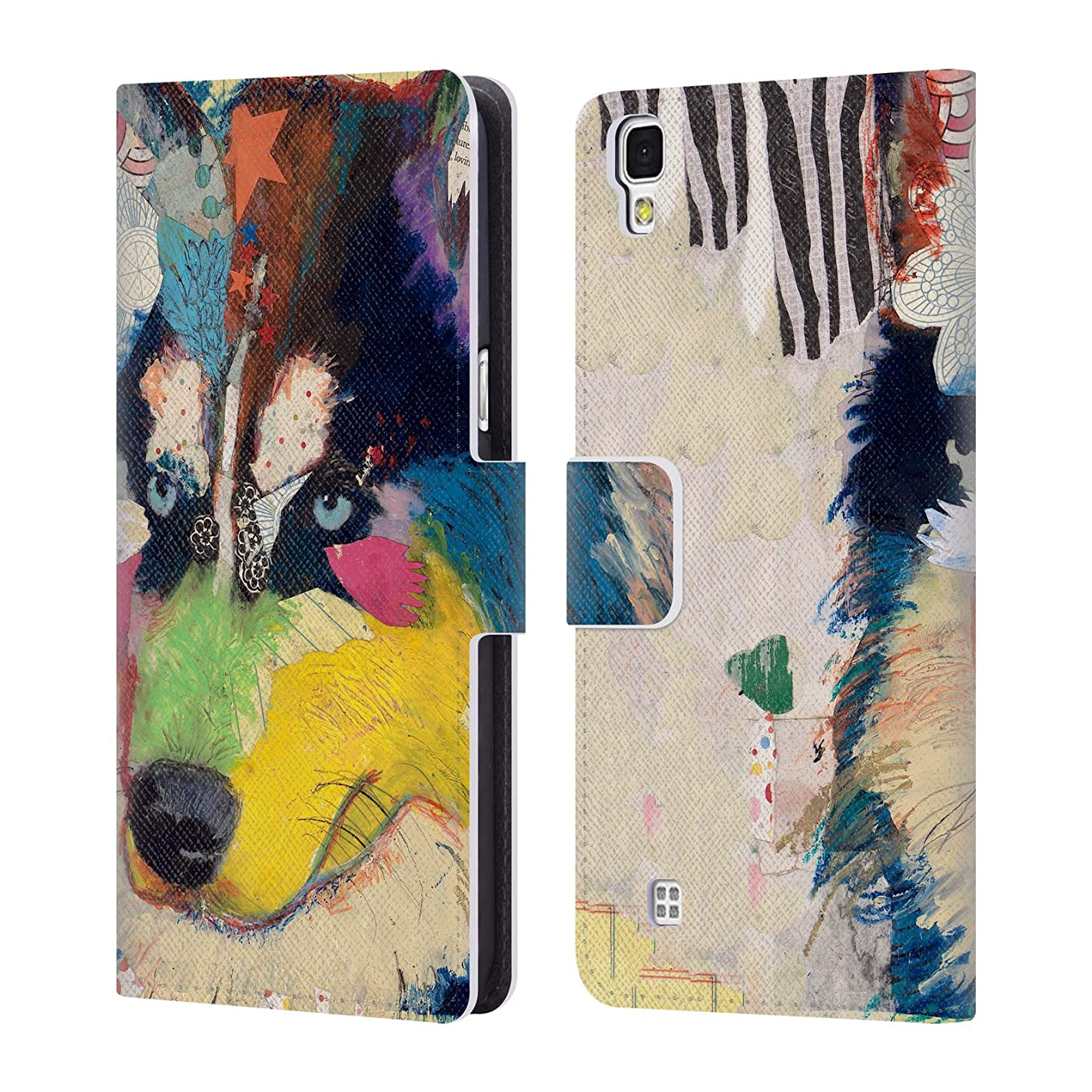 Official Michel Keck Husky Dogs Leather Book Wallet Case Cover for LG X Power