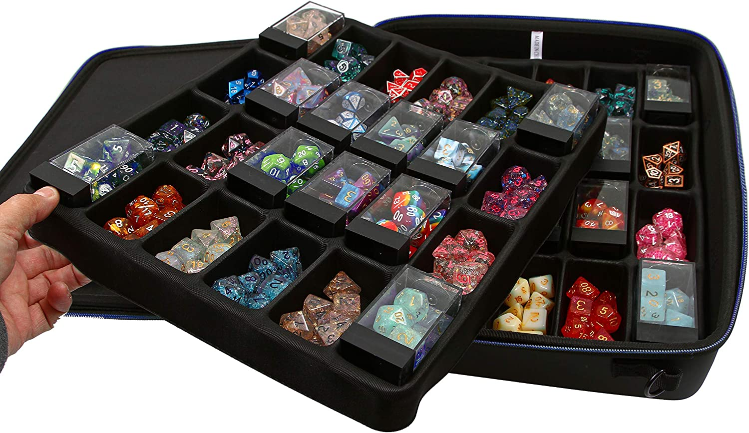 Forged Dice Co Holds 40 Plastic Dice Storage Cubes or 14 Dice Per Section up to 560 Total Dice Dice Tray and Display Case Compatible with Chessex Cubes and DND Dice Double Dice Tray Dice Case