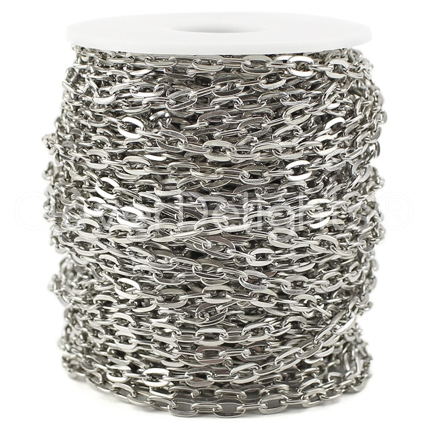 CleverDelights Cable Chain Spool - 100 Feet - Antique Silver (Platinum) Color - 5x7mm Link - Bulk Roll
