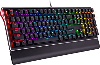 ROSEWILL Mechanical Gaming Keyboard, RGB Backlit Clicky Computer Mechanical Keyboard for PC, Laptop, Mac, Rainbow LED Modes with Side Backlight & Software Suite for Customization – Blue Switch