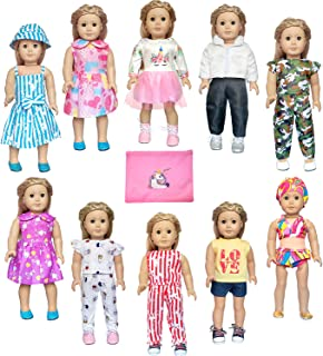 ARTST 18 inch Doll Clothes and Accessories 10 Set of American Girl Doll Clothes for 18 Inch American Girl Dolls, My Life Dolls, Our Generation Dolls