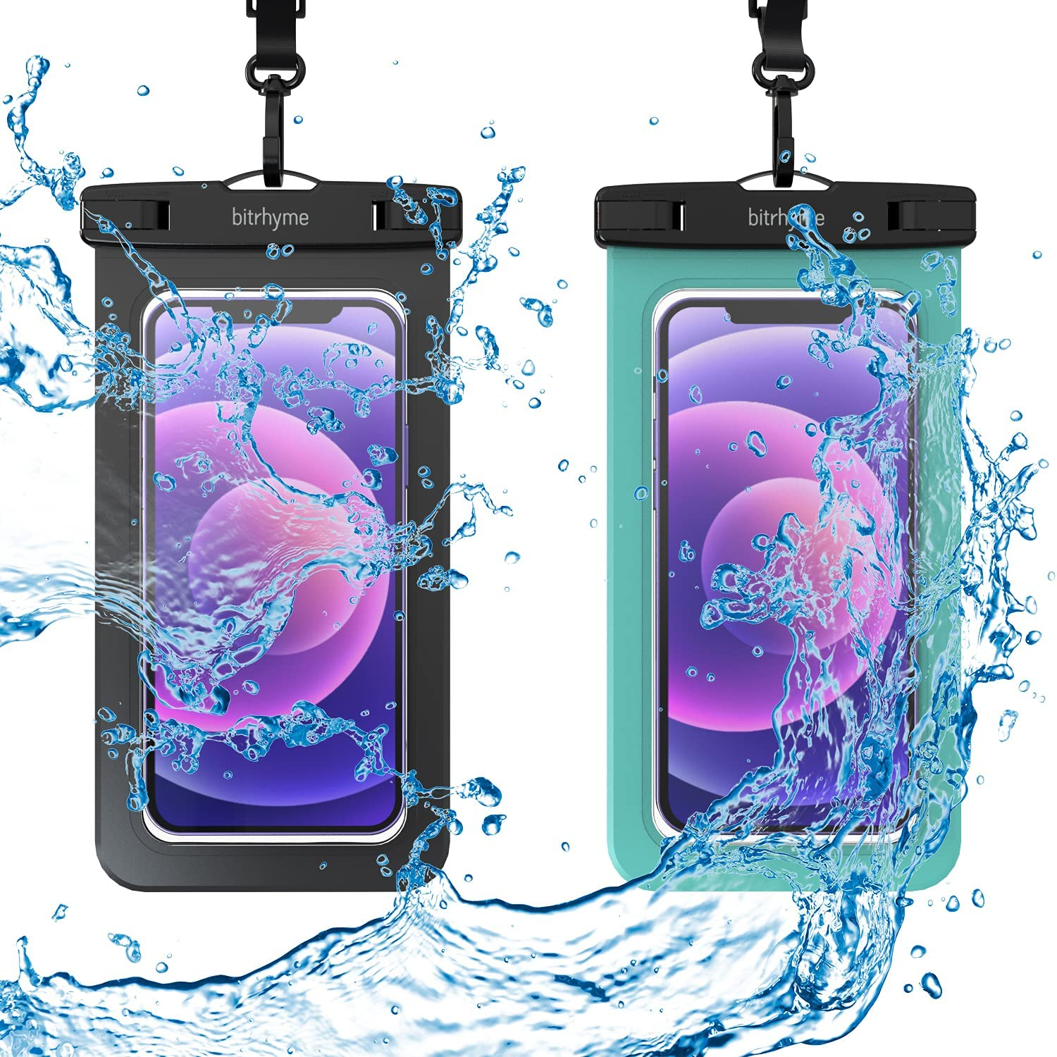 Bitrhyme Waterproof Phone Case 2 Packs IPX8 Universal Waterproof Phone Pouch Underwater Waterproof Bag for Phone Dry Bag for Beach Swimming Kayaking up to 7 Inches(Black/Mint)