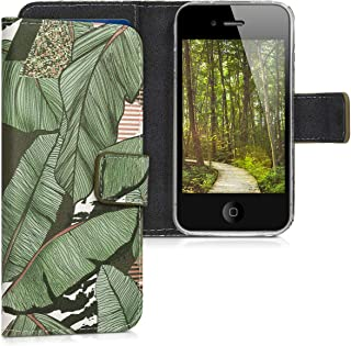 kwmobile Wallet Case for Apple iPhone 4 / 4S - PU Leather Protective Flip Cover with Card Slots and Stand - Green/Brown/White
