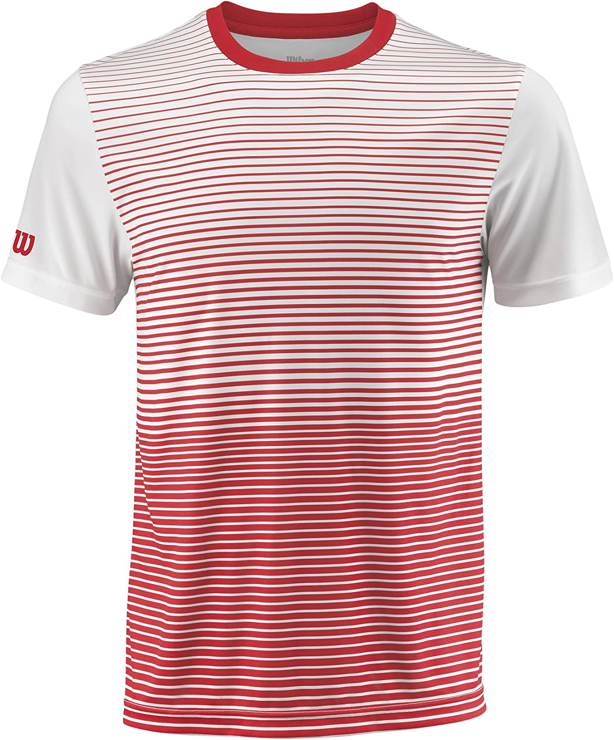Wilson Men's Striped Team Tennis Crew, Wilson Red White (Large)