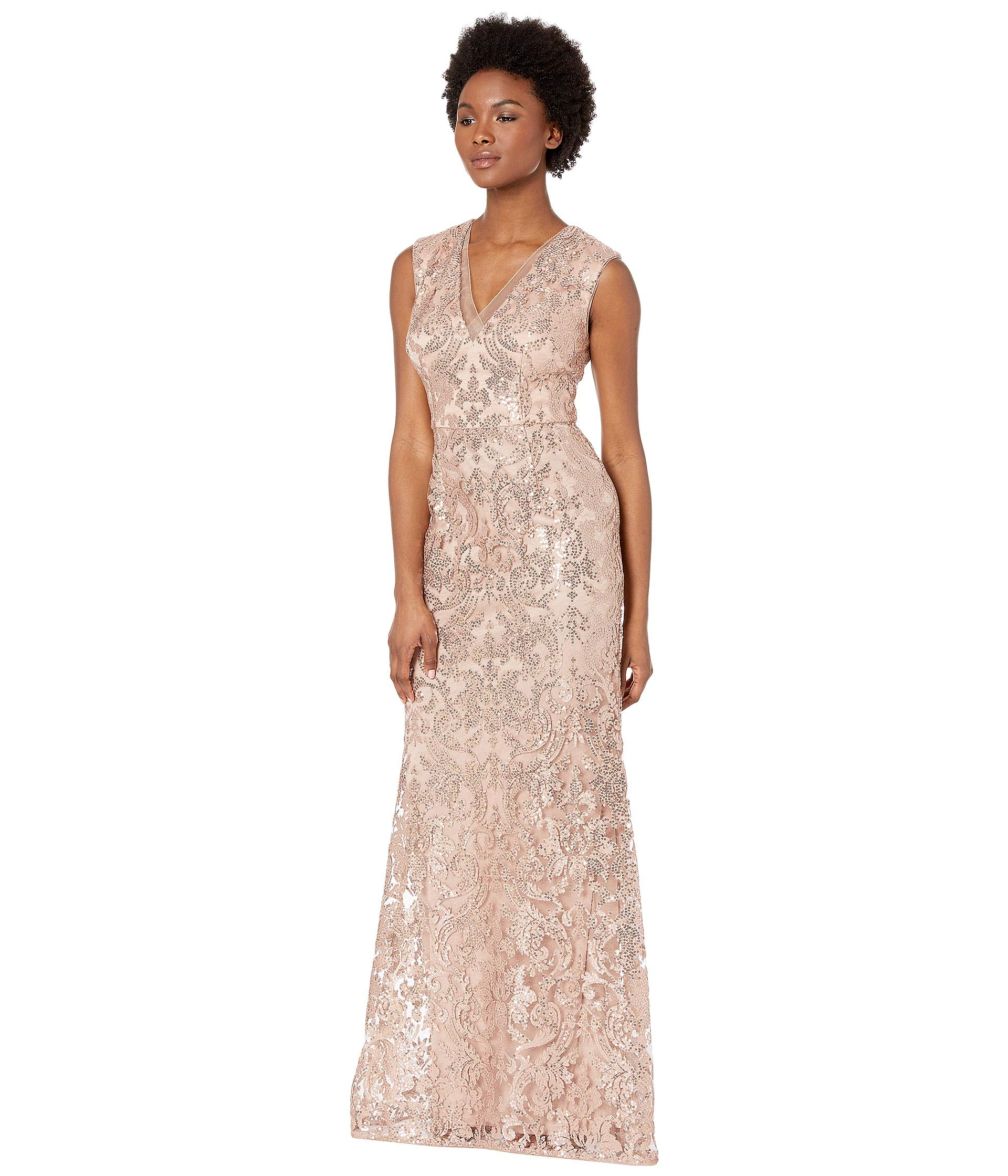 Adrianna neckline Papell Gown V Rose Modified All Over Sequin Embroidery Gold Mermaid 4BUwq4f
