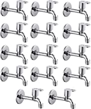 Prestige MAX Long Body-Pack of 14 SS Chrome Finish Long Body Pillar Cock Bib Cock for Bathroom Kitchen Wasbasin tap Faucets Bib Tap Faucet (Wall Mount Installation Type)