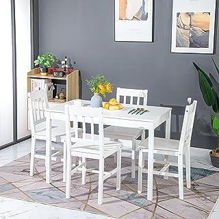 H.J WeDoo Ensemble deTable de Salle à Manger en Pin avec 4 Chaises, pour la Salle à Manger, La Cuisine, Salon (Blanche)