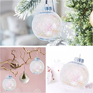 KI Store Clear Christmas Balls Ornament Plastic Shatterproof Large Christmas Tree Ornaments Iridescent 3.15 Inch Tree Decorations Set of 6
