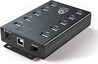 BrovSS- 10 Ports USB 2.0 Powered Hub - USB Extension Splitter for Mining with 12V 5A 60W Adapter
